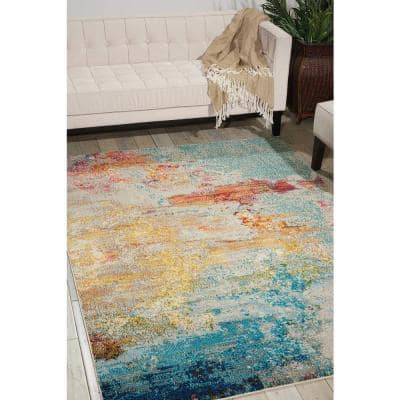 Celestial Sealife Multicolor 5 ft. x 7 ft. Abstract Modern Area Rug