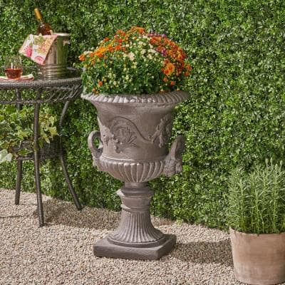 Adonis 18.75 in. x 18.75 in. Antique Grey Lightweight Concrete Outdoor Garden Urn Planter with Lion and Floral Accents
