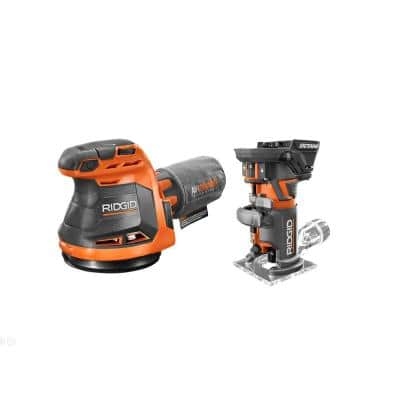 18-Volt OCTANE Cordless Brushless Compact Fixed Base Router and Random Orbital Sander