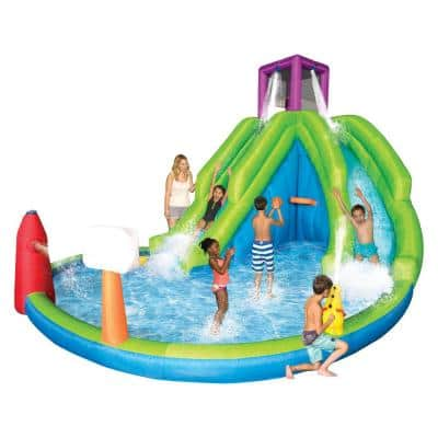 Adventure Falls Inflatable Water Park with 2 Slides and Basketball Hoop