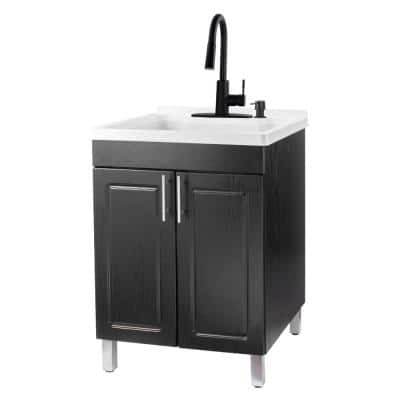 24 in. x 21.75 in. x 33.75 in. Thermoplastic Drop-In Utility Sink with Black Faucet, Soap Dispenser, Black MDF Cabinet