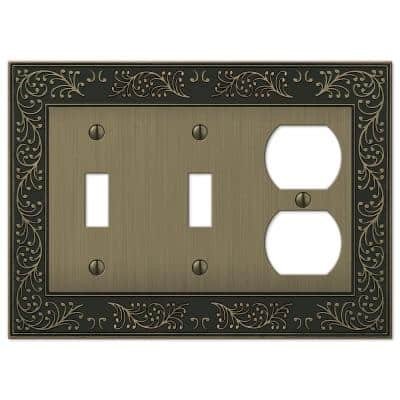 Bleinhem 3 Gang 2-Toggle and 1-Duplex Metal Wall Plate - Brushed Brass