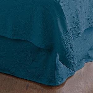 Putnam Matelasse 14 in. Midnight Blue Cotton Queen Bed Skirt