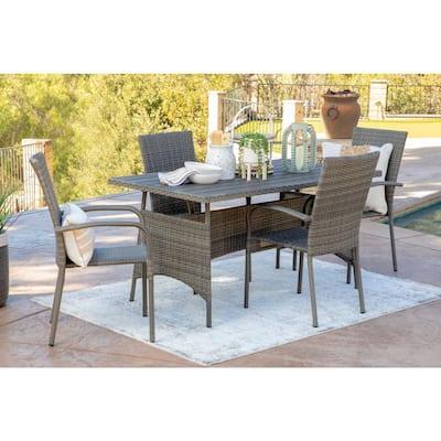 Trinidad Gray 5-Piece Wicker Outdoor Dining Set