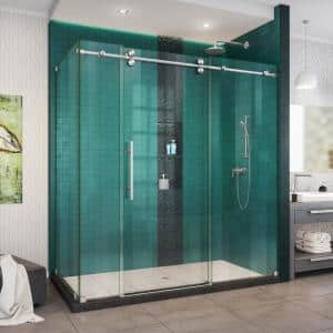 Enigma-XO 68 -3/8 to 72 -3/8 in. W x 76 in. H Fully Frameless Sliding Shower Enclosure in Brushed Stainless Steel