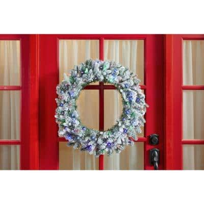 30 in. Starry Light Flocked Pine LED Prelit  Wreath with 50-Lights and Timer