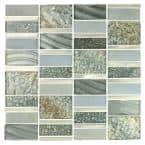 Imperial Silver Sea Deco Mosaic 12 in. x 12 in. Glass and Metal Wall Tile (10.78 sq. ft./case)