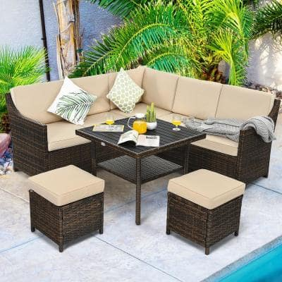 6-Piece Plastic Rattan Outdoor Sectional Set with Beige Cushions