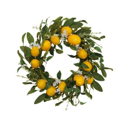 24 in. Dia Lemon Wreath with Berry Accents