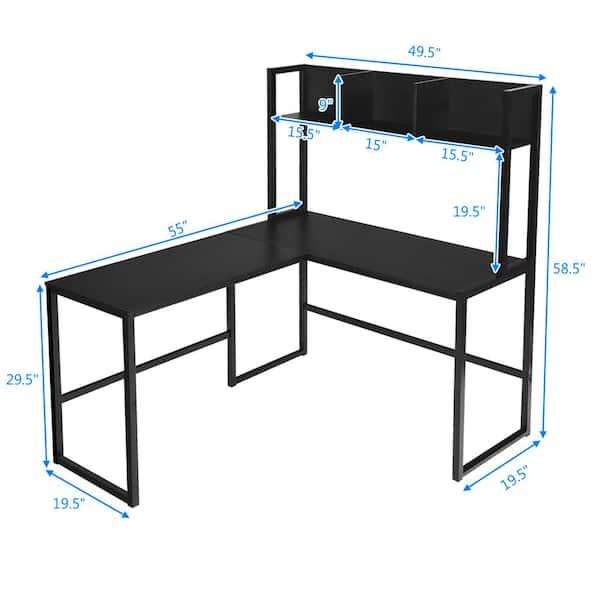 Costway L Shaped 55 In Black Corner, Black Corner Computer Desk With Hutch