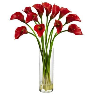 Indoor Mini Calla Lily Silk Flower Arrangement