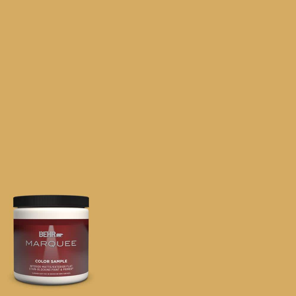 Behr Marquee 8 Oz 350d 5 French Pale Gold Matte Interior Exterior Paint Primer Sample Mq30316 The Home Depot