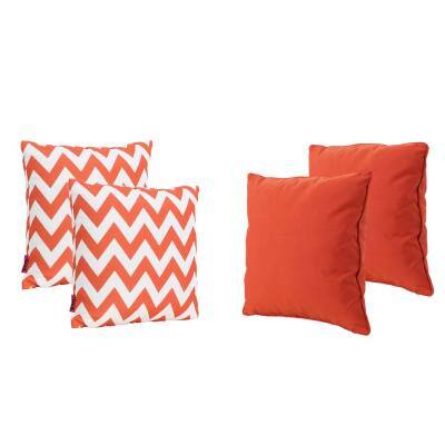 Marisol Solid Orange, Orange and White Chevron Square Outdoor Throw Pillow (4-Pack)