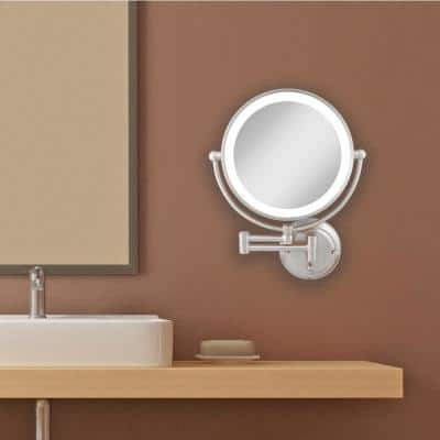 Glamour 18 in. H x 14 in. W Fluorescent Wall Mount Bi-View 5X/1X Magnification Beauty Makeup Mirror in Satin Nickel