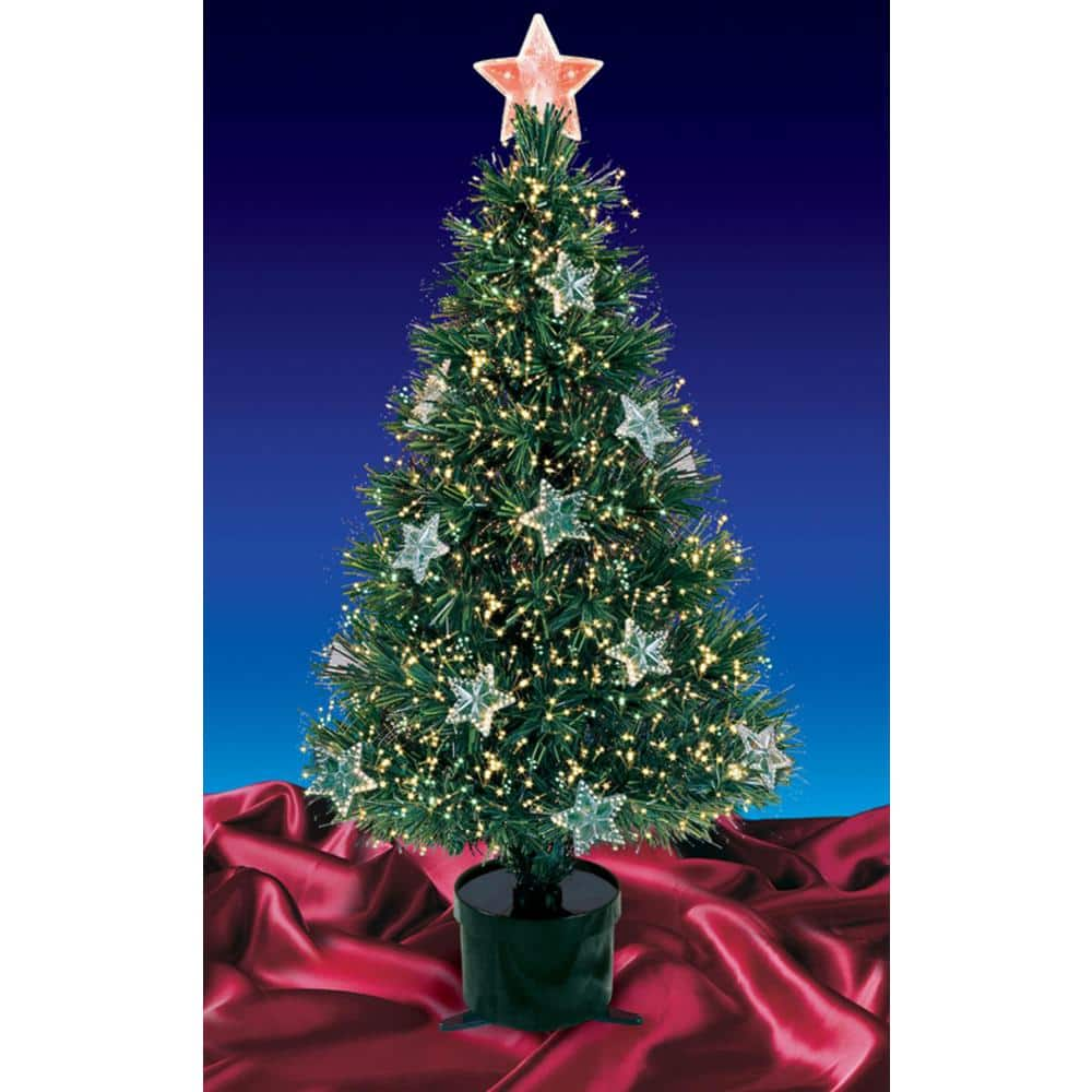 Northlight 4 Ft Pre Lit Fiber Optic Artificial Christmas Tree With Stars 32911576 The Home Depot
