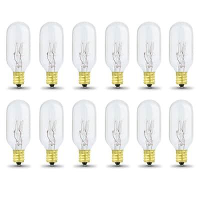 15-Watt T7 Dimmable Candelabra E12 Base Incandescent Appliance Light Bulb, Soft White 2700K (12-Pack)