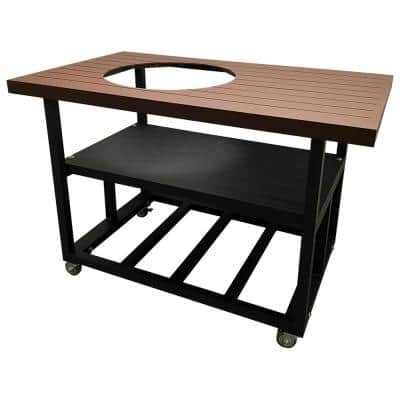 52 in. Aluminum Grill Cart Table for Large Big Green Egg in Rust Brown with Locking Wheels and Lifetime Warranty