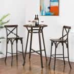 Rustic Steel Round Bar Table and Bar Stool Set