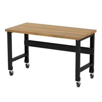 30 in. x 60 in. Solid Hardwood Top Heavy-Duty Adjustable Height Workbench with Casters