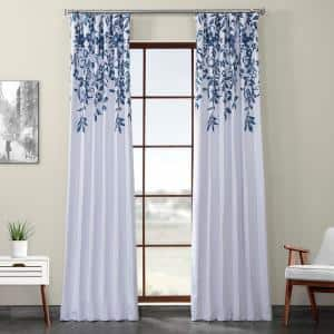 Temple Garden Blue Printed Linen Textured Blackout Curtain - 50 in. W x 96 in. L (1-Panel)