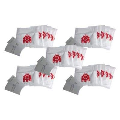 FJM Deluxe Cloth Bags and 10 Filters Replacement for Miele, Compatible with Part 7291640 (25-Pack)