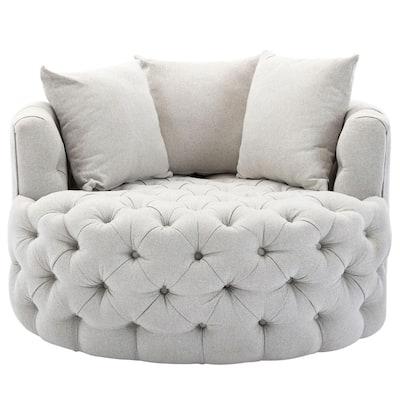 42.5 in. W Greyish White Tufted Linen Swivel Barrel Chair