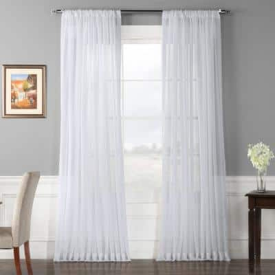 White Solid Extra Wide Rod Pocket Sheer Curtain - 100 in. W x 96 in. L
