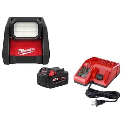 M18 GEN-2 18-Volt Lithium-Ion Cordless ROVER LED AC/DC Flood Light and Starter Kit with (1) 5.0 Ah Battery and Charger