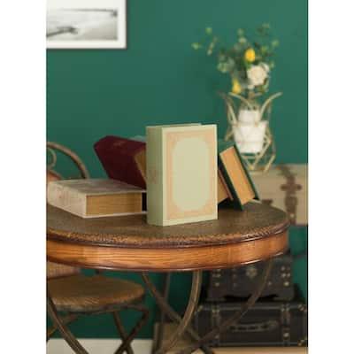 Antique Green Decorative Wooden Vintage Book Shaped Trinket Storage Box
