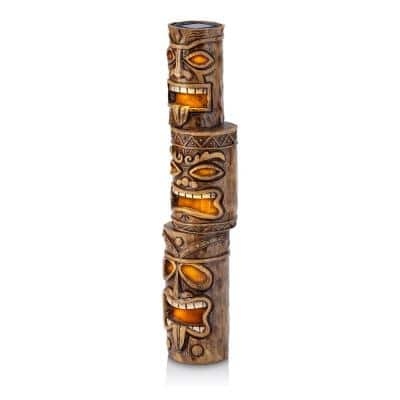 19 in. Tall Outdoor 3-Tier Tiki Totem Statue with Solar LED Lights Yard Decoration