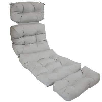 23 in. x 21 in. Olefin Tufted Outdoor Chaise Lounge Chair Cushion in Solid Gray