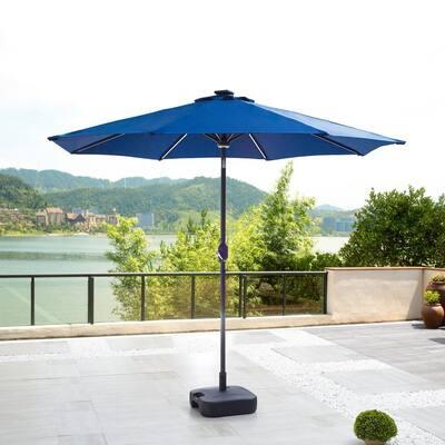 8.8 ft. Solar-Powered Light-UP Tilt Market Umbrella With Base in Blue