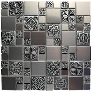 Meta Versailles 11-3/4 in. x 11-3/4 in. x 8 mm Stainless Steel Metal Over Ceramic Mosaic Tile (0.96 sq. ft./Each)