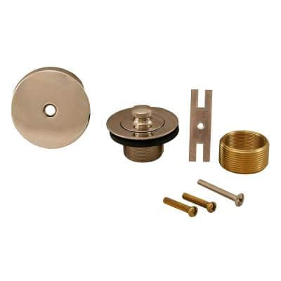 Lift and Turn Bath Tub Drain Conversion Kit with 1-Hole Overflow Plate, Polished Stainless