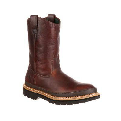 Men's Georgia Giant Non Waterproof 9 inch Wellington Work Boots - Steel Toe - SOGGY Brown 11 (M)