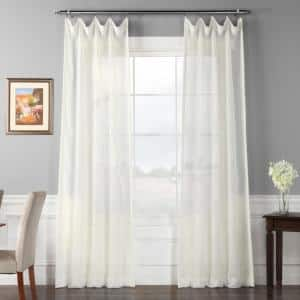 Off White Solid Rod Pocket Sheer Curtain - 50 in. W x 96 in. L