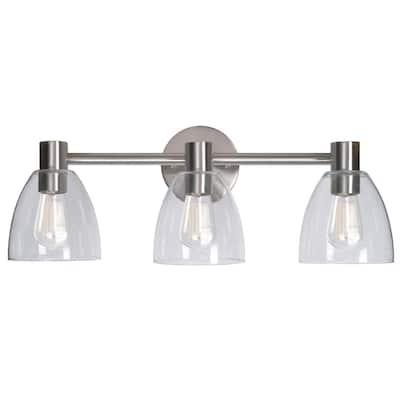 Edis 3-Light Brushed Steel Bath Light