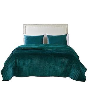 Riviera Velvet 3-Piece Teal Polyester Full/Queen Quilt Set,