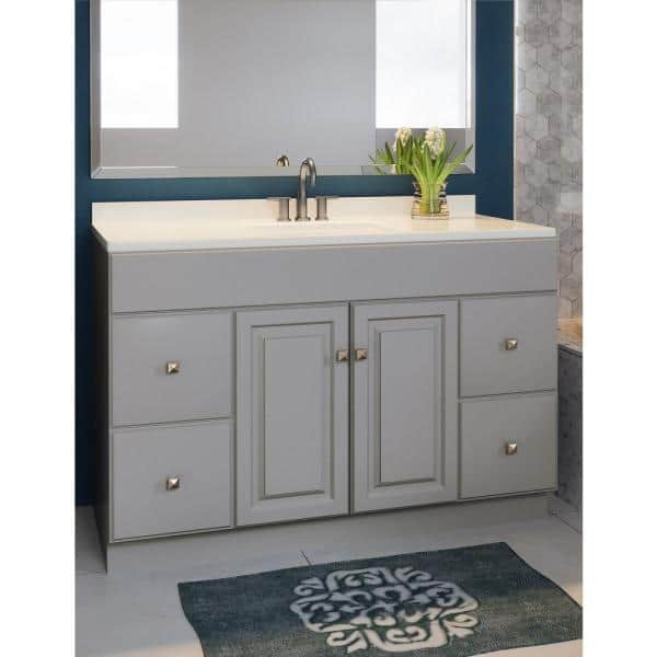 Design House Wyndham 48 In W X 21 In D Ready To Assemble Bath Vanity Cabinet Only In Gray 542753 The Home Depot