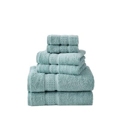 Oceane 6-Piece Aqua Blue Cotton Towel Set