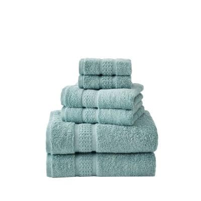 Oceane 6-Piece Aqua Blue Cotton Towel Set