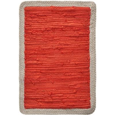 Carlton 19 in. x 13 in. Bordered Oranges/Peaches Cotton Placemats (Set of 4)