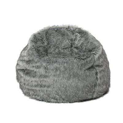 3 ft. Dark Gray Faux Fur Bean Bag with Light Gray Streaks