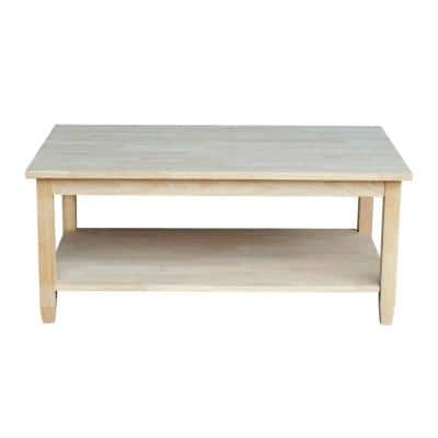 Solano 42 in. Unfinished Large Rectangle Wood Coffee Table with Shelf