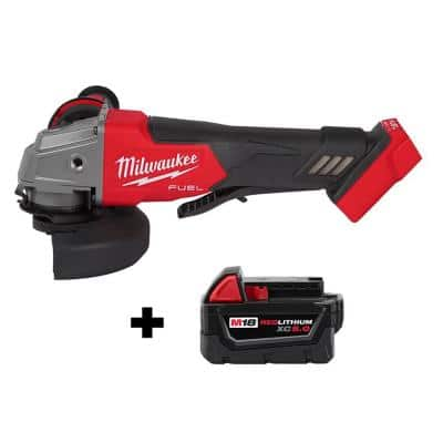 M18 FUEL 18-Volt Lithium-Ion Brushless Cordless 4-1/2 in. ./5 in. Grinder with Paddle Switch with (1) 5.0 Ah Battery