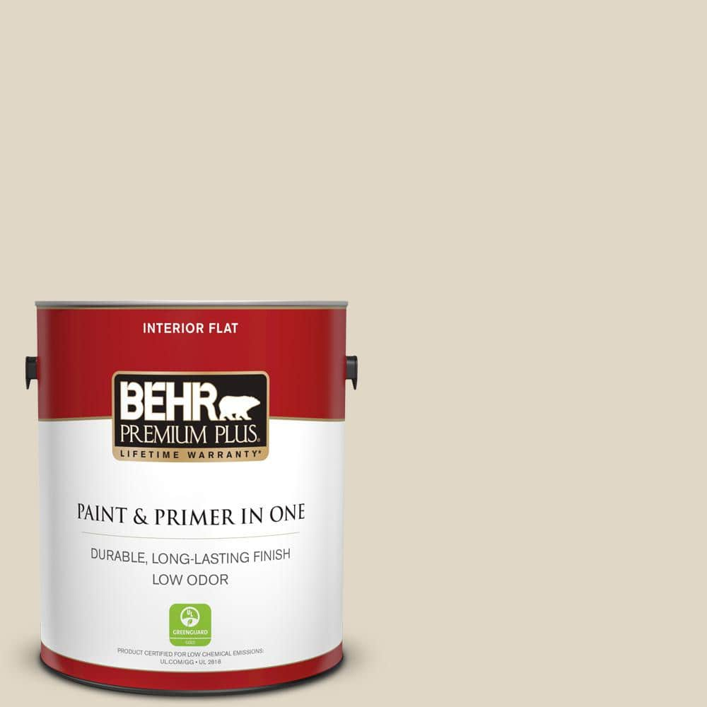 Behr Premium Plus 1 Gal Yl W13 Sentimental Beige Flat Low Odor Interior Paint And Primer In One 105001 The Home Depot