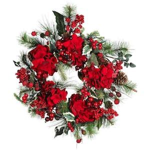22in. Holiday Hydrangea Wreath