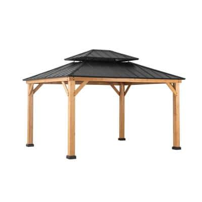 Archwood 13 ft. x 11 ft. Cedar Frame Gazebo with Double Tier Steel Roof Hardtop