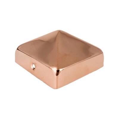 4 in. x 4 in. Copper Pyramid Slip Over Fence Post Cap