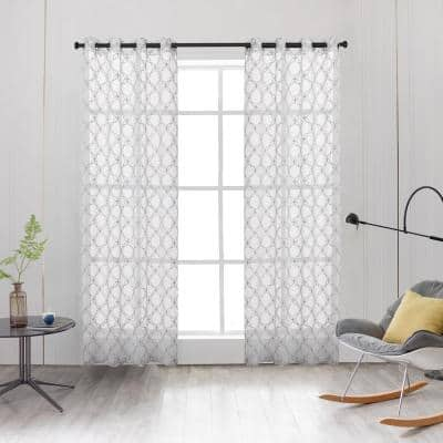 Amelia 54 in.L x 52 in. W Sheer Polyester Curtain in Lake Blue